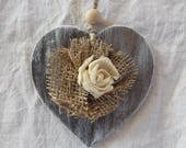 Shabby wooden heart with jute flower, wooden heart to hang, wooden decorations to hang, Mother's Day gift