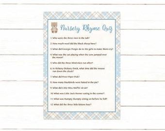 Teddy Bear Nursery Rhyme Quiz Baby Shower Game, Nursery Rhyme Baby Shower Game, Blue Brown Plaid Instant Download  Printable 606