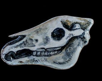 Handmade Ceramic Horse Skull Plate