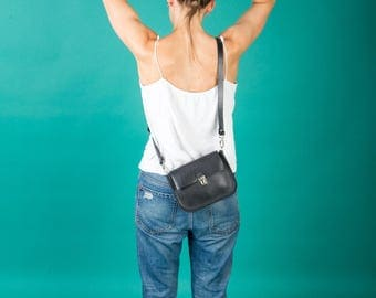 Black leather mini purse
