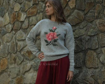 Wool sweater roses, Women's wool sweater, hand knitted wool sweater, handknit sweater, Thick Warm Winter Sweater, floral sweater