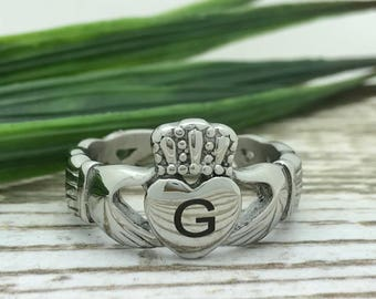 Claddagh Ring, Stainless Steel Ring, Custom Promise Ring, Purity Ring, Wife Initials Ring, Couples Ring, Friendship Ring