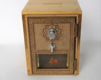 Post Office Door Bank - 1956 Post Office Door - Wooden Vintage Bank - Combination Safe - Door #24 - Brass Post Office Box Door