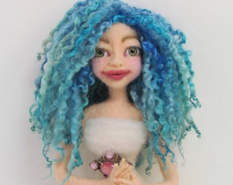 Mermaid hair, Doll Hair, Wensleydale Curly Locks, Hand Dyed/Painted Doll Hair, Shades of Blue Doll Hair, Ocean blues, Wigging,Listed 1/2 oz