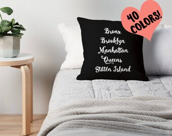 New York City, NYC Pillow, Five Boroughs Pillow, Brooklyn Pillow, NYC Bedding, Manhattan Pillow, Bronx Pillow, New York City Pillow, NYC