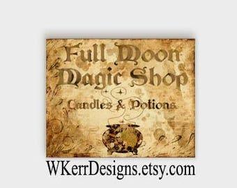 Full Moon Magic Shop Art Print, INSTANT Digital Download