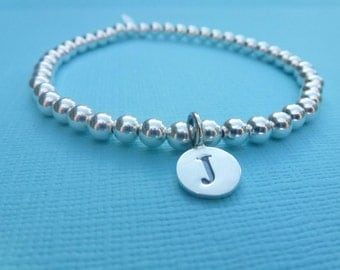 Sterling Silver 925 4mm Round Ball Beaded Stretch Bracelet With Initial Letter Charm Stacker Bracelets Roodle Rice Noodle Personalized