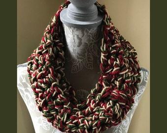 Crochet Chunky Cowl Infinity Scarf Burgundy, Olive Green, Tan - Handmade Crochet - S19