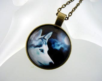 Wolf  Photo Pendant - Glass Necklace - Theme Jewelry