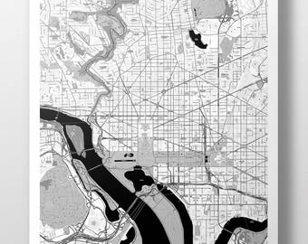 Washington D.C., Map Poster - B&W