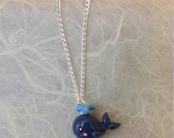 Dark blue whale necklace