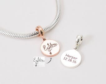 Handwriting Charm • Customized European Tags • Silver Personalized Name Beads • Signature Charm • Custom Name Jewelry • New Mom Charm • CM17
