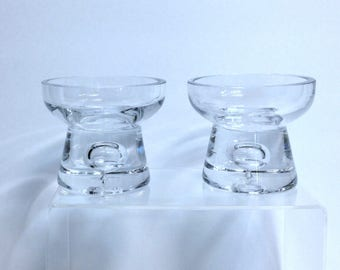 Vintage Pair Heavy Glass Bubble Base Candleholders Retro Glass Potpourri Bowls Votive Candle Holders Sturdy Thick Glass Trinket Dishes