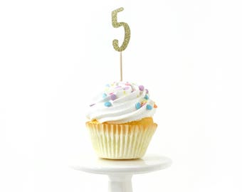 Number 5 Gold Glitter Cupcake Toppers, Number 5 Toothpicks, Gold Party Decor, Food Decoration, Fifth Birthday, 5th Birthday, Five Decor