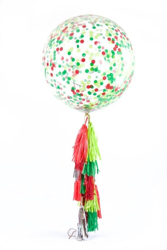 "36"" Dr. Seuss Christmas Balloon,  Giant Clear Balloon, Confetti Balloon, Tassel Balloon, Christmas Decor, Winter, Holiday, Seasonal, Wedding"