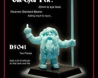 28mm Scale, Dwarven Standard Barer, Resin Gaming Mini. Warhammer. Tabletop. Dungeons & Dragons. Dwarf. Pathfinder. RPG tabletop