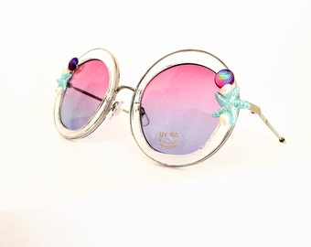 Sunglasses Round, Clear Frames with Starfish and real Pearls, 400 UV Protection