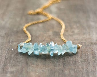 Aquamarine Necklace, Raw Aquamarine Bar Necklace Sterling Silver, Gold or Rose Gold, Raw Crystal Necklace, March Birthstone, Jewelry Gift