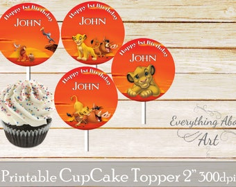Lion King cupcake toppers printable, Lion King birthday toppers, Printable cupcake toppers, Birthday party supplies, Lion King party toppers