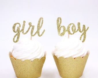 Gender Reveal Cupcake Toppers, Boy or Girl Cupcake Toppers, Baby Shower Cupcake Toppers, Any Color, Fast Shipping