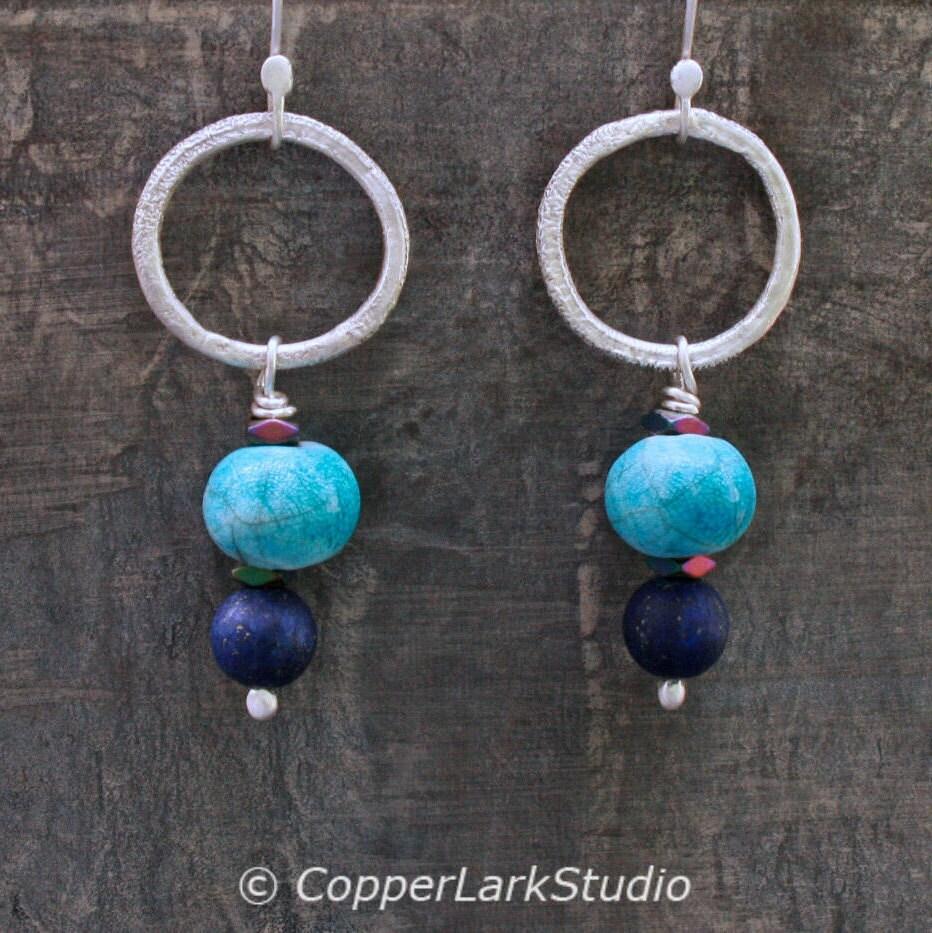 ceramic silver hoop earrings w handmade blue raku