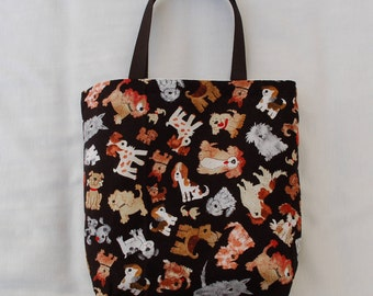 Fabric Gift Bag/ Party Favor Bag/ Goody Bag- Puppies on Black