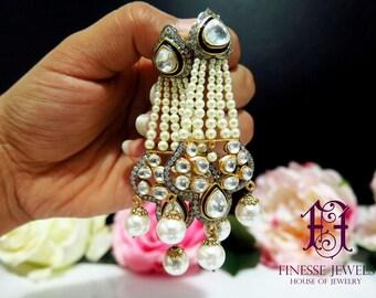 Polki Earrings, Uncut Polki Earrings, Polki Jewelry, Victorian Rose Cut Diamonds Earrings