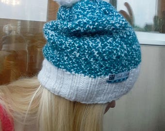 Blue beanie hat, White and turquoise beanie hat women, wool and acrylic hat, warm hat, pom-pon hat