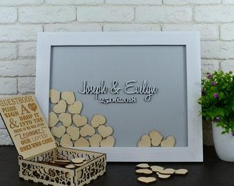 Wedding guest book, alternative guestbook, wedding drop box, Wedding Guestbook, Drop Box hearts, sign hearts Gray