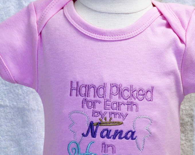 Handpicked for Earth by Nana bodysuit, New baby Coming home bodysuit,Baby shower gift, Baby girl pink bodysuit, Angel shirt for baby girl