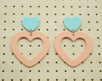 Uber Laser Cut Acrylic Large Matte Pastel Sweetheart Heart Dangle Hoop Earrings