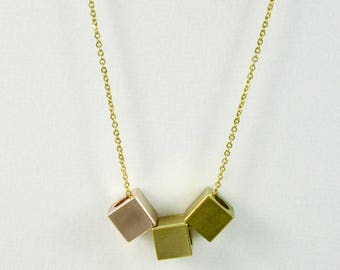 Mixed Metals *CUBISM* Gold, Rose Gold, and Brass Cubes Geometric Necklace