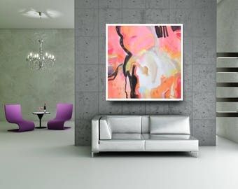Pink Black Wall Art Print, Abstract Art, Canvas Painting, Modern Acrylic Abstract Painting, Giclée, Wall Canvas Art, Contemporary Abstract