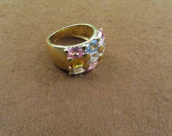 Anello multipietre  in argento placcato oro - karat Hallmark