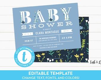 Boy Baby Shower Invitation - Templett Shower Invitation - DIY Boy Shower Invitation - Digital Shower Invitation - Printable Invitation