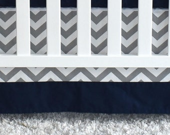 SHIPS TOMORROW - SALE -Gray Chevron and navy crib skirt, nursery, crib bedding, crib skirt, chevron, navy