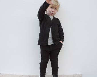 Cardigan Black - Baby Cardigan - Toddler Cardigan - Cardigan Kids - Unisex Kid's Clothing - Sizes from 18 Months to 10 Years - by PetitWild