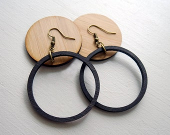 Lightweight Black Wood Hoop earrings inspired by Joanna Gaines fixer upper / sustainable bamboo wood