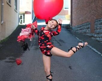 Red Hearts Leotard, Valentines Day, Black Leo, Ballerina, Bodysuit, Baby Leotard, Toddler Leo, Dance, Gymnastics Leotard, Leotards for Girls