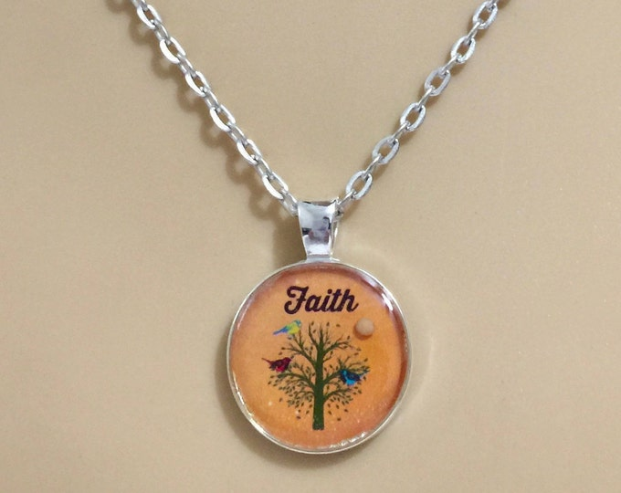 Mustard Seed Jewelry, Faith Jewelry, Mustard Seed Necklace, Christian Gifts, Orange and SilverTree of Life Necklace, Matthew 17:20 necklace