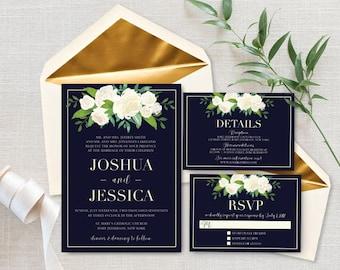 Classic Wedding Invitation, Elegant Wedding Invite Suite, Printed Navy Blue Wedding Set, Black Tie Wedding Stationery, Floral Wedding Suite