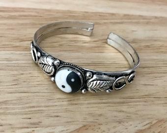 Ethnic  Ying Yang Cuff Bracelet