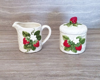 Amazing Strawberry Sugar And Creamer Sears Roebuck, Strawberry Kitchen Set, 1981