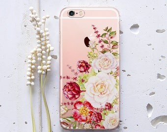 Flower iPhone 6 Case iPhone 6s Case For Samsung Galaxy S6 Case for Samsung Galaxy S5 Case Phone Case X iPhone Transparent Protective WC1055