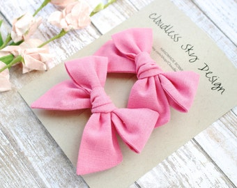pigtail bows, pink bows, bow, pigtail set, pink pigtail bows, pigtail bow sets, bow clips, bows for girls, baby bows, christmas hair bows