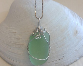 "Genuine Seafoam Green Sea Glass Pendant with Sterling Silver wire and 18"" Box Chain"