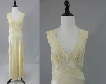 40s Cream Rayon Satin Nightgown - As Is for Costume Only - Lace Trim - Fischer Heavenly Lingerie - Vintage 1940s - S M