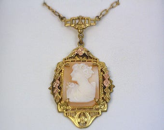 18 Inch Vintage 1/20 12K Gold Filled Hand Carved Shell Cameo Necklace