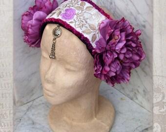 ATS Costume Headdress, Tribal Fusion Headdress, Flowers Headband,  Tribal Headdress, Festival Headpiece, Boho Headpiece, Gypsy Headband