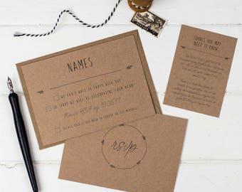 Rustic Wedding Details Card -  Kraft Wedding Invite - Wedding Stationery - Invitation Suite - Rustic Wedding